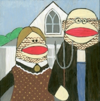 2004 - Sock Monkey American Gothic SOLD!